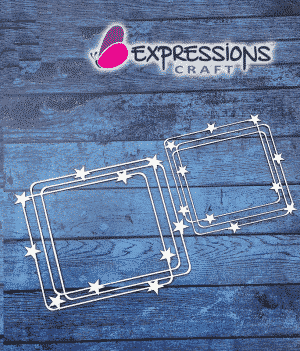 Overlap Square Frame with Stars chipboard cutouts