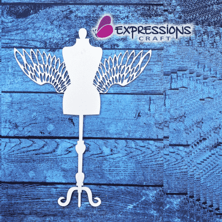 Mannequin with Wings chipboard cutouts